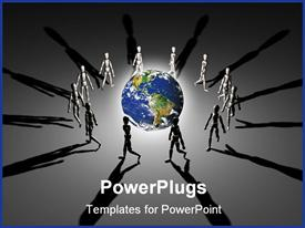 PowerPoint template displaying group of figures walking in circles around brightly lit planet Earth