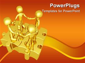 People holding hands while standing on connected puzzle pieces powerpoint design layout
