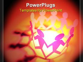 PowerPoint template displaying special effects depiction of team standing together holding hands in the background.