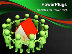 PowerPoint template displaying a number of people surrounding a house