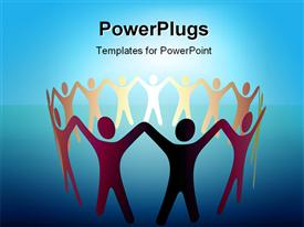 PowerPoint template displaying group of Symbol People hold up arms to form a ring or team under a bright spot of copy space in the background.