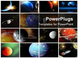PowerPoint template displaying sixteen depictions collage of planets and galaxy, Earth, Moon, spaceship