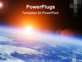 PowerPoint template displaying earth with rising Sun outer space
