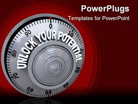 Safe lock dial with the words Unlock Your Potential on it powerpoint template