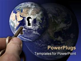 Hand, key, and globe powerpoint theme