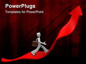 PowerPoint template displaying a person running on a growth arrow with reddish background