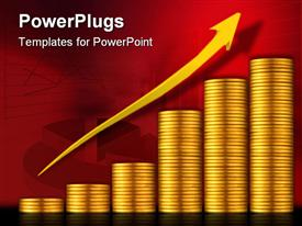 PowerPoint template displaying graph plotted with stacts of gold coin with arrow ascending over it
