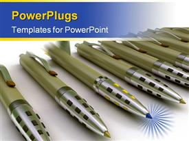 PowerPoint template displaying pens and rocket in the background.