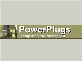PowerPoint template displaying a plain ash colored background with a middle olive strip