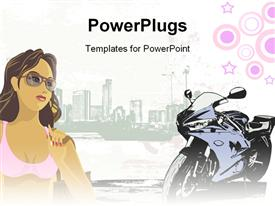 Girl with building background powerpoint theme