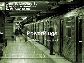 PowerPoint template displaying canal street subway station in downtown with train waiting