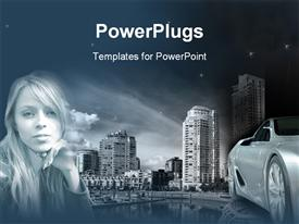 PowerPoint template displaying a girl with a car and skyscrapers in the background