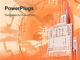 PowerPoint template displaying funky grungy urban building background with shades of orange