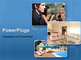 PowerPoint template displaying collage showing affluent lifestyle on blue background