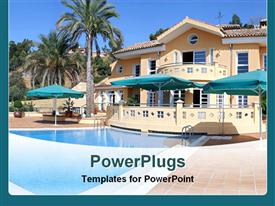 PowerPoint template displaying palm trees and swimming pool at luxury villa