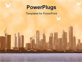 PowerPoint template displaying a beautiful city ladscape with a lake in front
