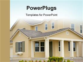 PowerPoint template displaying cute house with beautiful flowers in front