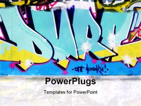 PowerPoint template displaying urban graffiti wall in blue, yellow and pink