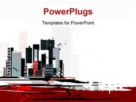 PowerPoint template displaying a lot of high colorful buildings over a white background