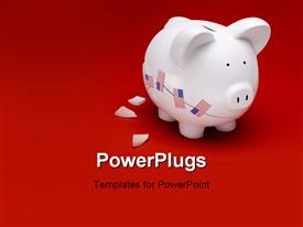 PowerPoint template displaying broken white ceramic piggy bank with US flags on a red surface