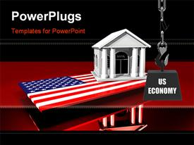 PowerPoint template displaying a 3D bank building on a USA flag on a red reflective surface