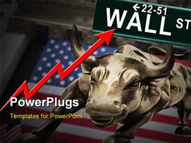 PowerPoint template displaying conceptual bull market and New York stock exchange