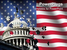 PowerPoint template displaying uS Capitol building with pieces of it flying out and an American flag
