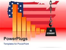 PowerPoint template displaying conceptual depiction of the US economy being at risk in the background.
