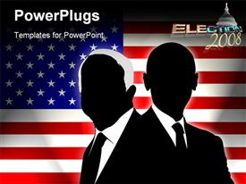 PowerPoint template displaying two candidates of the US election 2008