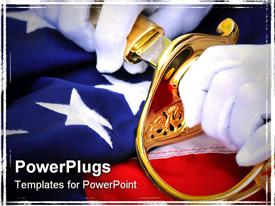 PowerPoint template displaying white gloved hands pulling a sword from a golden scabbard on a flag