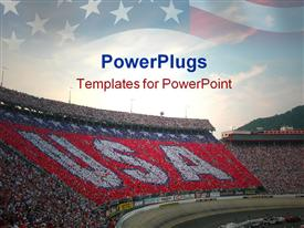 PowerPoint template displaying car racing fans make white USA on red background