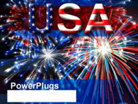 Letters of USA using star spangled banner texture powerpoint design layout