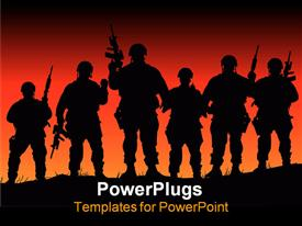 PowerPoint template displaying abstract silhouette depiction of some soldiers on patrol