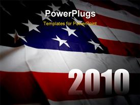PowerPoint template displaying an American flag with the new year celebration of 2010