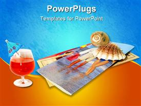 PowerPoint template displaying tropical drink, vacation brochures, seashell