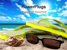 PowerPoint template displaying sunglasses flip flops and seashell on beach with ocean and blue sky background