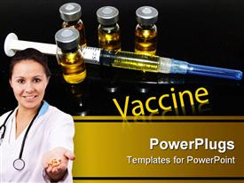 PowerPoint template displaying vaccine vials around filled syringe behind doctor with handful of pills