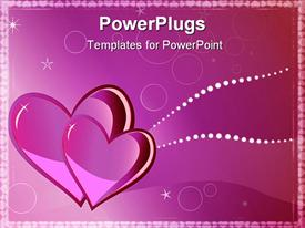 PowerPoint template displaying two pink hearts in elegant pink background with white stars