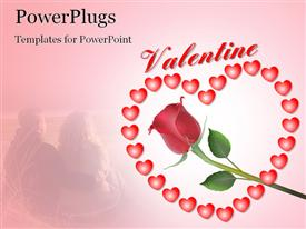 PowerPoint template displaying valentine depiction with rose flower and heart shaped symbols
