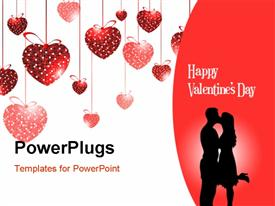 PowerPoint template displaying valentine depiction with love shaped ornaments and couple kissing