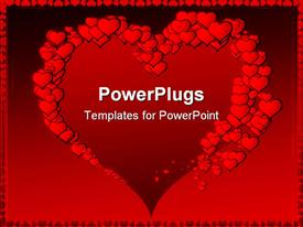 PowerPoint template displaying big heart shape framed by red hearts of various sizes on red background