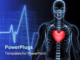 PowerPoint template displaying a skeleton with a heart and heartbeat lines in the background