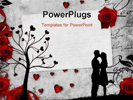 PowerPoint template displaying romantic vintage background with red roses and beautiful silhouettes