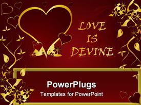 PowerPoint template displaying gold colored hearts with gold