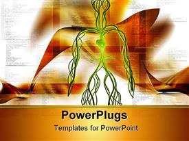 PowerPoint template displaying green vascular system with heart on orange and white background with small text