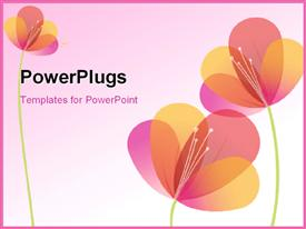 PowerPoint template displaying beautiful Vector Colorful Flowers over a Pink Background