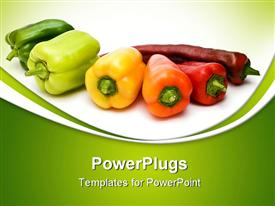 Picture of bell peppers on the degree of ripeness of isolation on a white background powerpoint theme