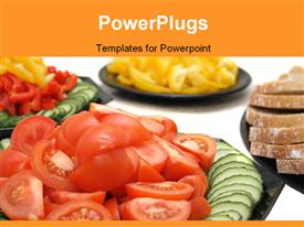 PowerPoint template displaying food background with bread tomatoes and other vegetable in the background.