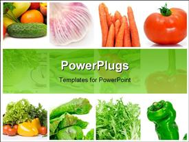 Collage of nine pictures of different vegetables template for powerpoint