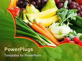 PowerPoint template displaying assortment of fresh vegetables and fruit from the greengrocer in the background.